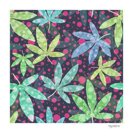 Fresh leaf pattern with polka dots