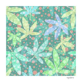 Fresh pastel leaf pattern with polka dots