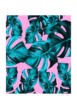 Monstera Leaves Summer Vibes Pattern #1 #tropical #decor