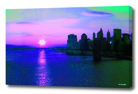 Brooklyn Bridge View New York City Digital Illustration