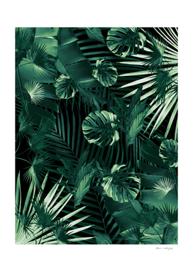 Tropical Jungle Leaves Night Siesta #1 #tropical #decor #art