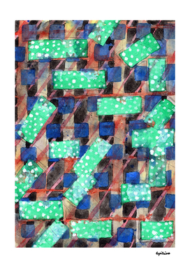 Dotted Green Rectangles on Top Pattern