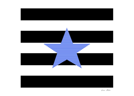 Star - blue - black and white strips.