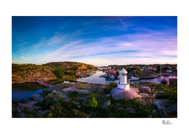 Sunset over old fishing port - Aerial Photography