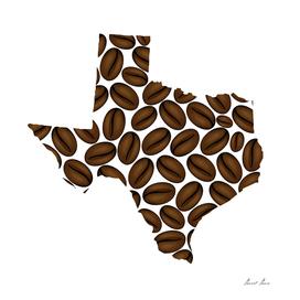 Texas -  map of coffee bean