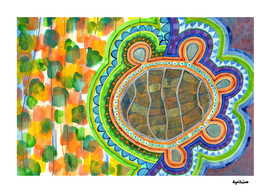 Weird Turtle in picturesque Blobs Pattern