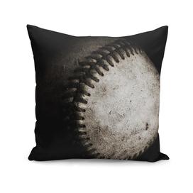 Battered Baseball in Black and White