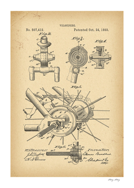 1893 Patent Velocipede Bicycle archival history invention