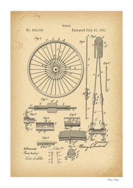 1891 Patent Velocipede Bicycle archive history invention