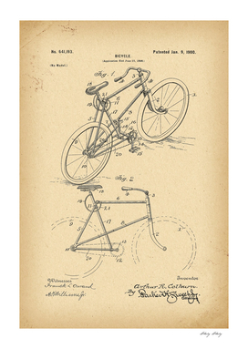 1900 Patent Velocipede Bicycle archival history invention