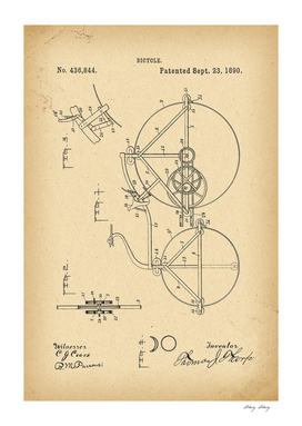1890 Patent Velocipede Bicycle archival history invention
