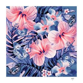 Coral Blue Aloha Butterflies