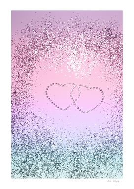 Unicorn Girls Glitter Hearts #2 #shiny #pastel #decor #art
