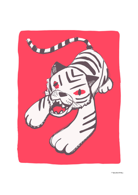 White siberian tiger on red background