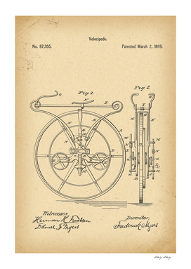 1869 Patent Velocipede Bicycle Unicycle history invention