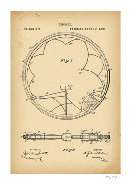 1894 Patent Velocipede Bicycle Unicycle history invention