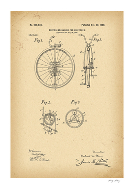 1900 Patent Velocipede Bicycle Unicycle history invention
