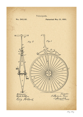 1881 Patent Velocipede Bicycle Unicycle history invention