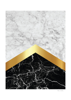 Stone Arrow Pattern - White & Black Marble & Gold #147