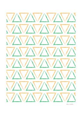 Triangular Peaks Pattern - Orange & Green #791