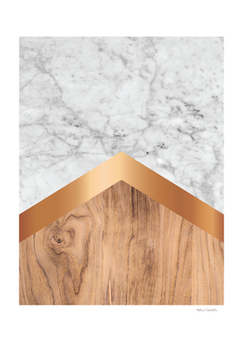 Stone Arrow Pattern - White Marble, Rose Gold & Wood #924