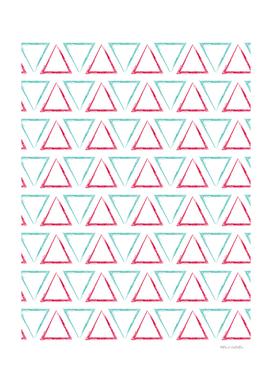 Triangular Peaks Pattern - Teal & Red #412