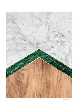 Arrows - White Marble, Green Granite & Wood #941