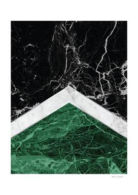 Arrows - Black Granite, White Marble & Green Granite #412