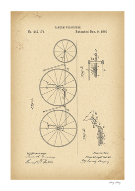 1890 Patent Velocipede Tandem Bicycle history invention