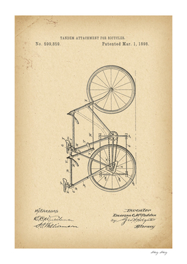 1898 Patent Velocipede Tandem Bicycle history invention
