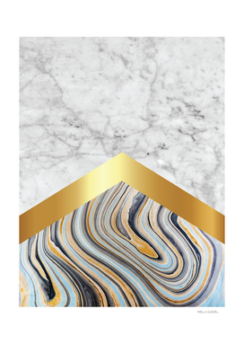Stone Arrow Pattern - White & Blue Marble, Gold #610