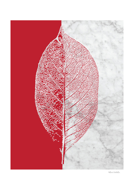 Natural Outlines - Leaf Red & White Marble #930