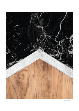 Stone Arrow Pattern - Black & White Marble & Wood #366