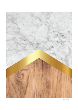Stone Arrow Pattern - White Marble, Gold & Wood #851