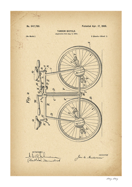 1900 Patent Velocipede Tandem Bicycle history invention