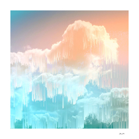 Beautiful Frozen Sky Glitch Icy blue & Peach #glitchart