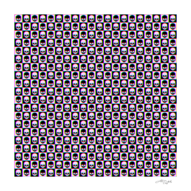 💀 Glitch Checkered Skulls Pattern IV