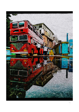 Double Decker bus water reflection