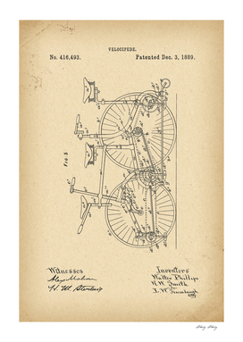 1889 Patent Velocipede Bicycle archival history invention