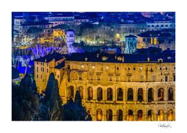 Night Scene Rome Cityscape Aerial View