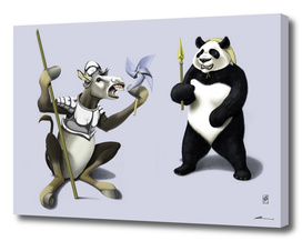 Donkey Xote and Sancho Panda (colour)