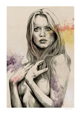 Gloria (nude woman sketch drawing, tribute to Gloria Guida)