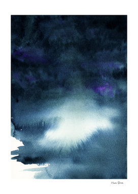 Dark Navy Blue Watercolor Ombre Abstract Painting