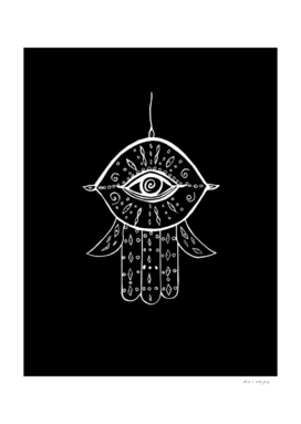 Hamsa Hand White on Black #1 #drawing #decor #art