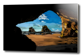 Beach Cave Windows Wallpaper inspired art