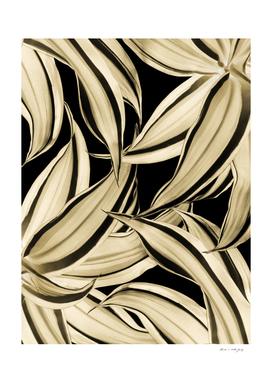 Dracaena Tropical Leaves Pattern Gold Black #2 #tropical