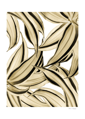 Dracaena Tropical Leaves Pattern Gold Black #1 #tropical