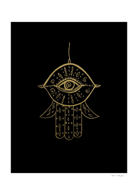 Hamsa Hand Gold on Black #1 #drawing #decor #art