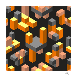 Orange abstract isometric