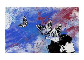 Long Gone Whisper III: Blue (butterfly girl  graffiti)